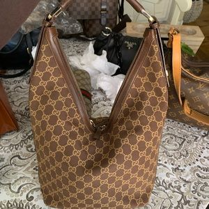 Auth brown GG canvas/ leather Gucci shoulder bag
